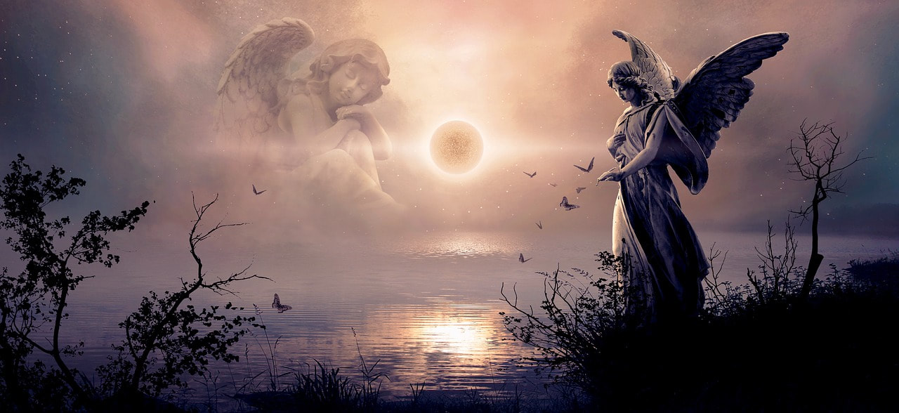 Picture of angels with the moon reflecting on a lake